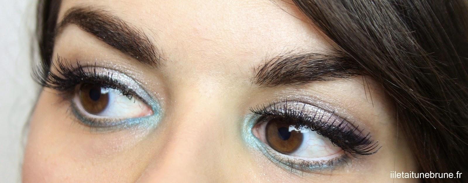 maquillages des yeux bleu azur, violet, argenté