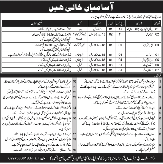 Pakistan Army Jobs 2019 in Junior Leaders Academy