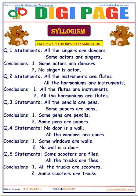 DP | SYLLOGISM | 14 - DEC - 16