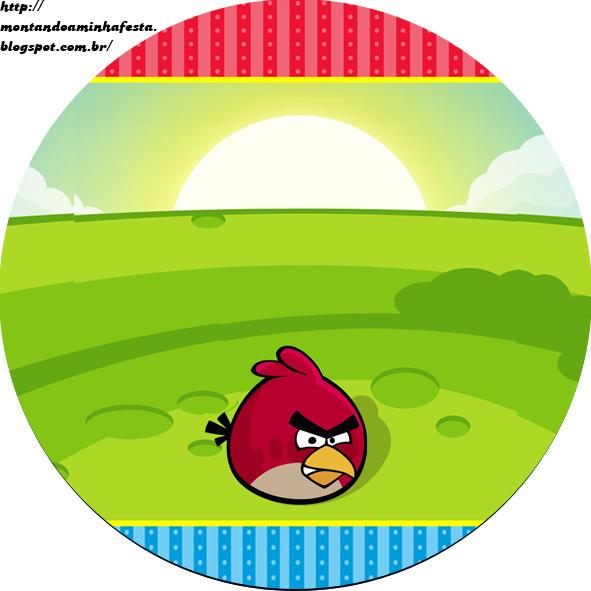 Toppers o Etiquetas de Angry Birds para imprimir gratis.
