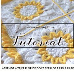 tutorial de mantilla bebe con diseño de flores grandes al crochet