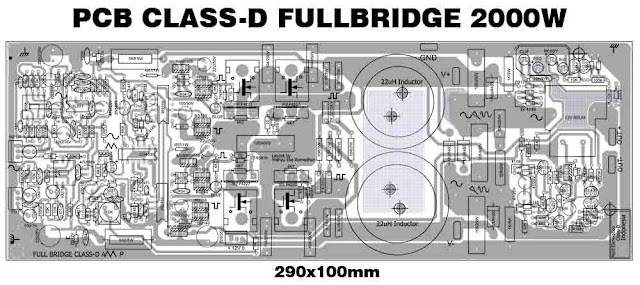 PCB Layout Power Class-D Fullbridge Amplifier - D2K