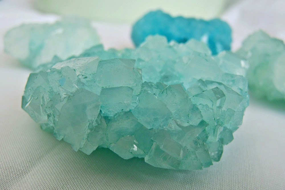 Pale green borax crystals