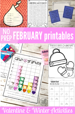 Fun activities and worksheets for January and February including Valentine's Day fun!