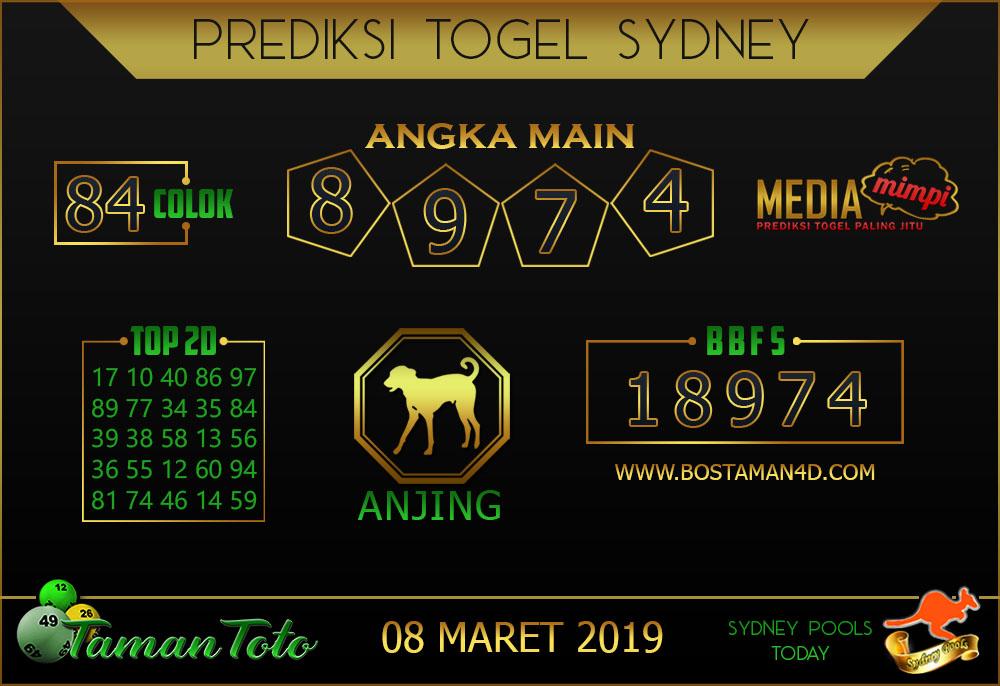 Prediksi Togel SYDNEY TAMAN TOTO 08 MARET 2019