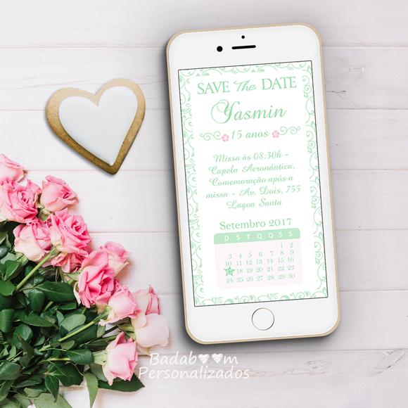 save the date, digital, arabesco, calendário, convite, festa, 15 anos, adulto