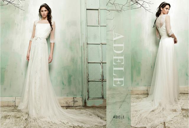 Vestido de novia de María Barragan en tela de encaje y gasa sobrio y sencillo con un toque vintage