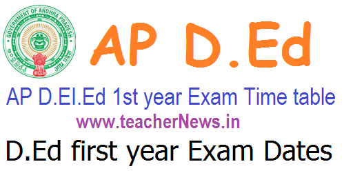 AP D.Ed 1st year Exam Dates/ Time table, Hall tickets @ bse.ap.gov.in