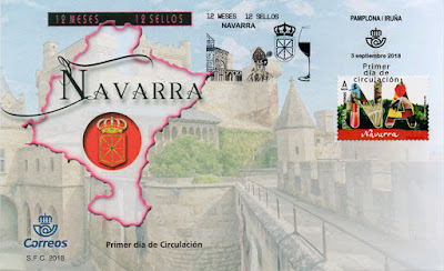 PDC del sello de Navarra de la serie 12 meses, 12 sellos, 12 provincias