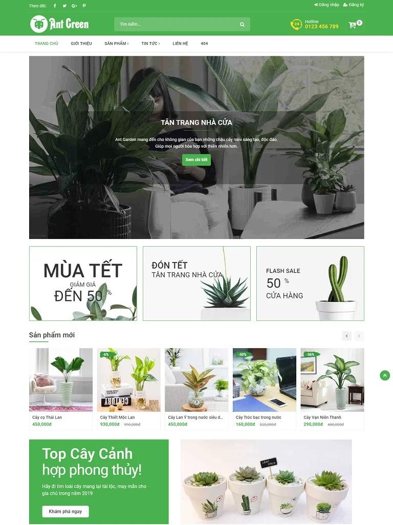 Template Blogspot bán cây cảnh đẹp chuẩn seo