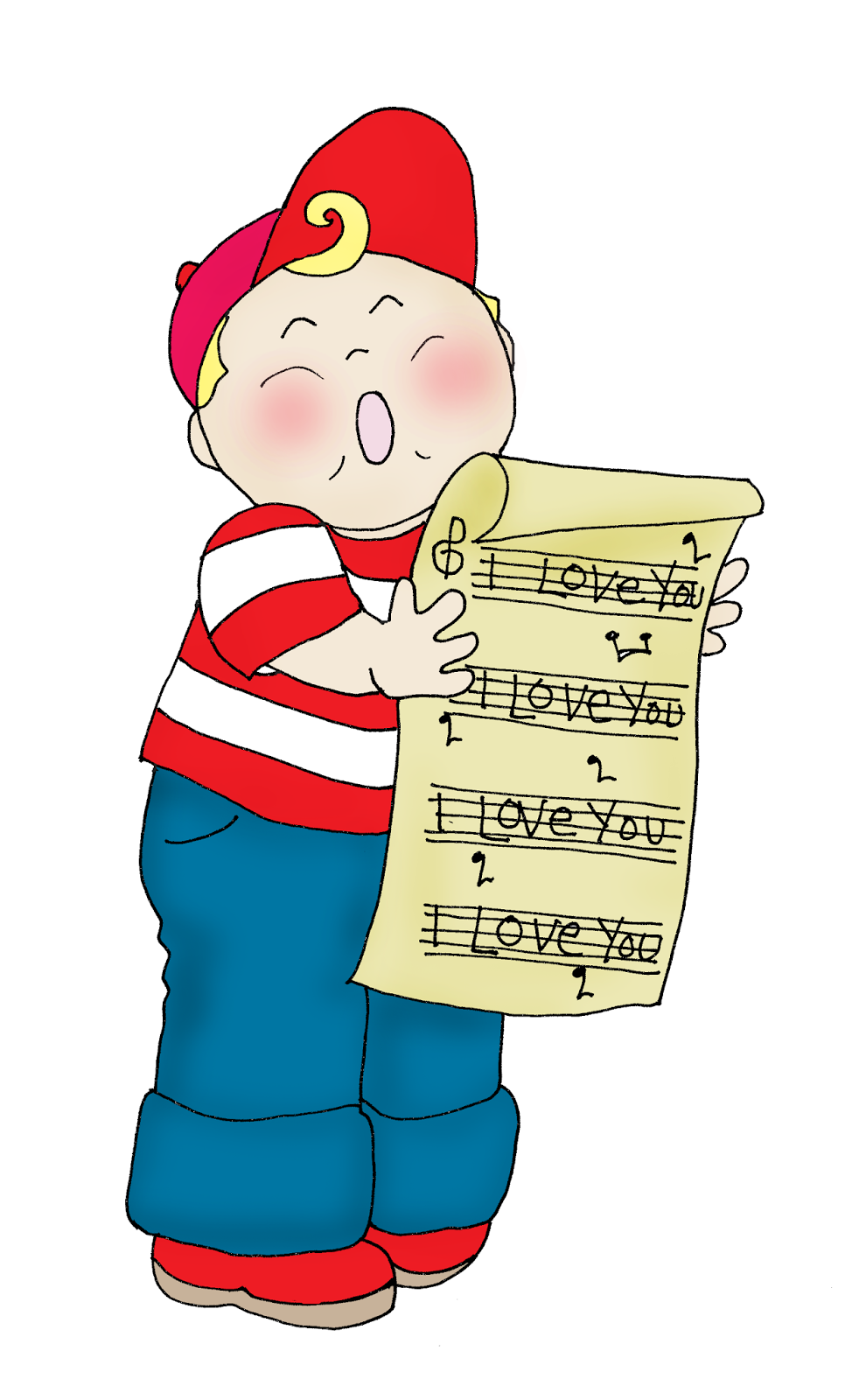 Vintage Style Valentine Singing Boy