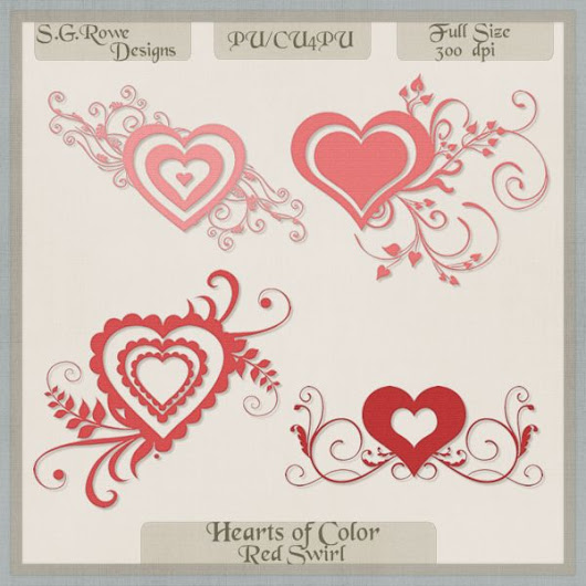 Hearts of Color Swirl Hearts - Red Shades
