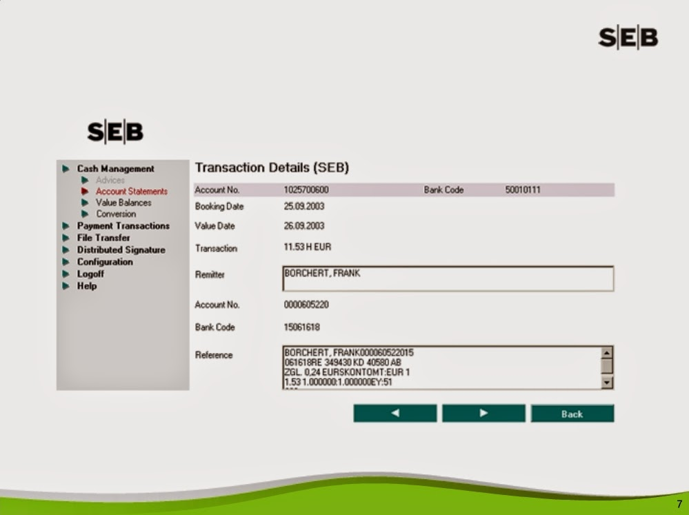 SEB Internet Bank Account Transactions Screen