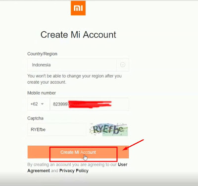 klik create mi account