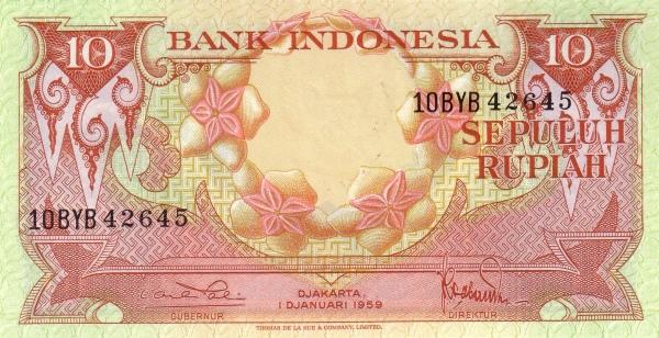 10 rupiah 1960 depan