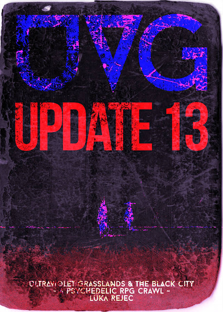 A black, purple, and fuschia background for the cover of UVG, with the text UVG, Update 13, Ultraviolet Grasslands & The Black City, Psychedelic RPG Crawl, Luka Rejec. There appear to be two figures in bright pink and darker blue on the horizon.