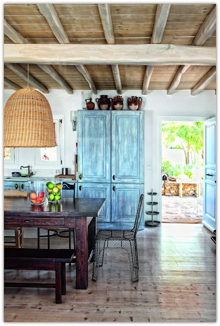 kitchen cabinets with blue paint job