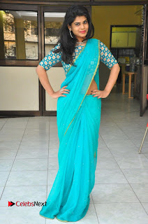 Telugu Actress Alekhya Stills in Green Saree at Swachh Hyderabad Cricket Press Meet  0104.JPG