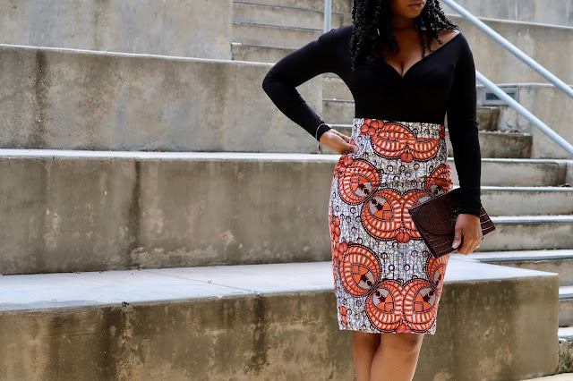 Ankara Orange Skirt