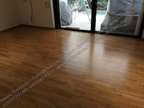 Δρύινο ξύλινο πάτωμα σατινέ