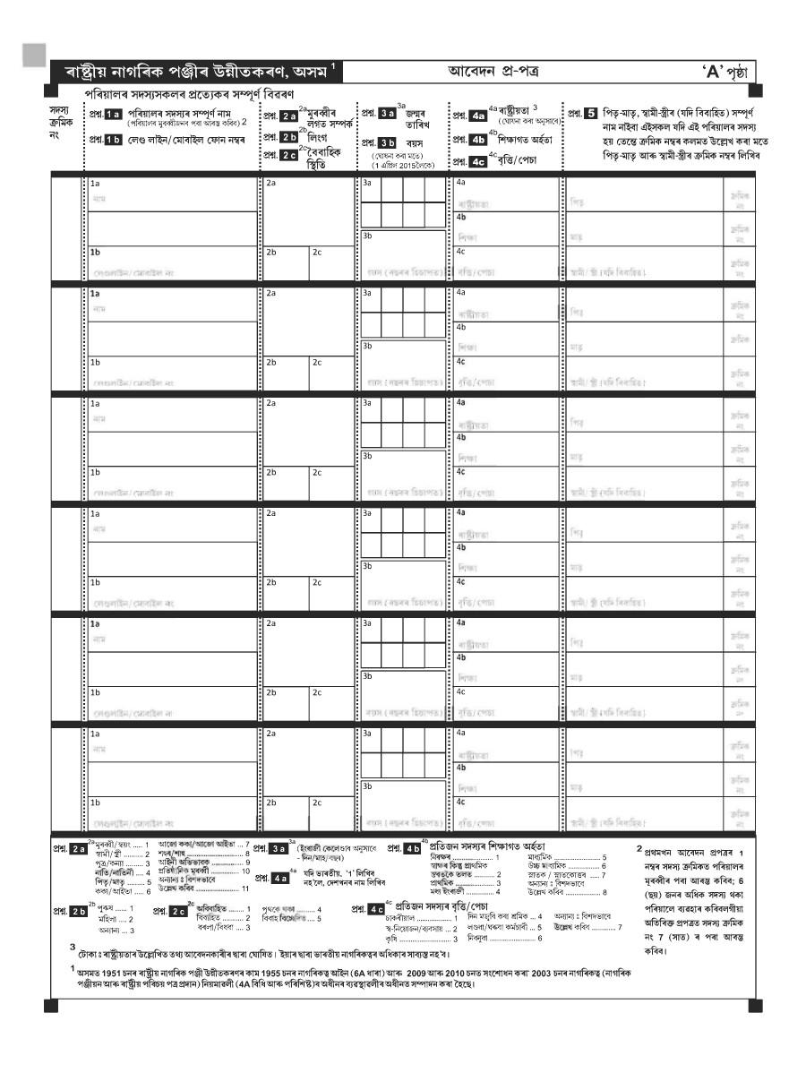 Download NRC Application Form Assamese