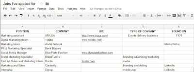 Screenshot of my job hunting spreadsheet