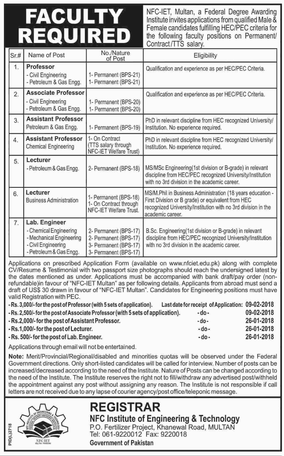 NFC Institute Of Engineering And Technology Multan jobs