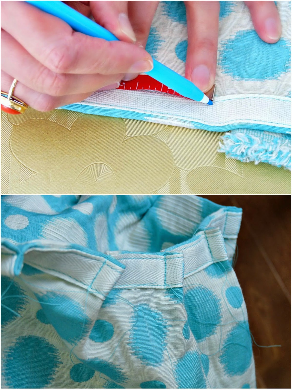 How to sew gathers into drapes