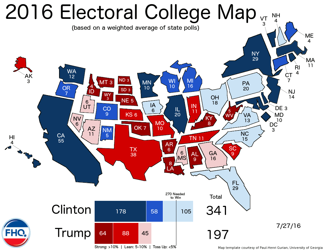 Frontloading Hq The Electoral College Map 7 27 16