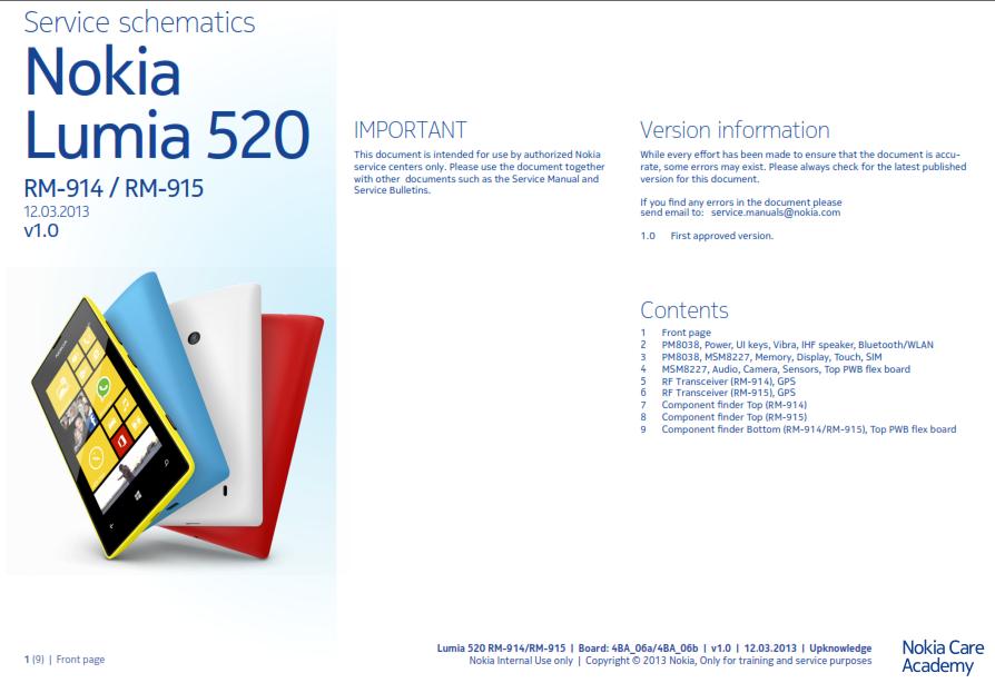Nokia Lumia 520 Service Schematics