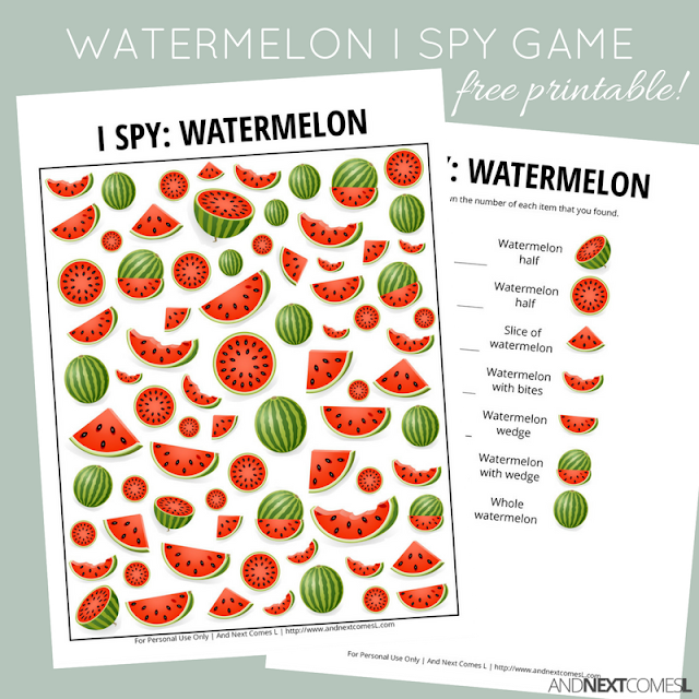 Free watermelon themed I Spy game for kids from And Next Comes L
