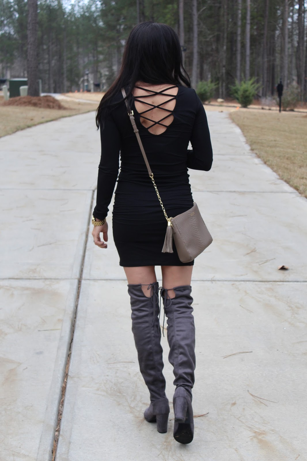 Girls Night Out Outfit | LBD | Over the knee boots | Stilettos and Diapers
