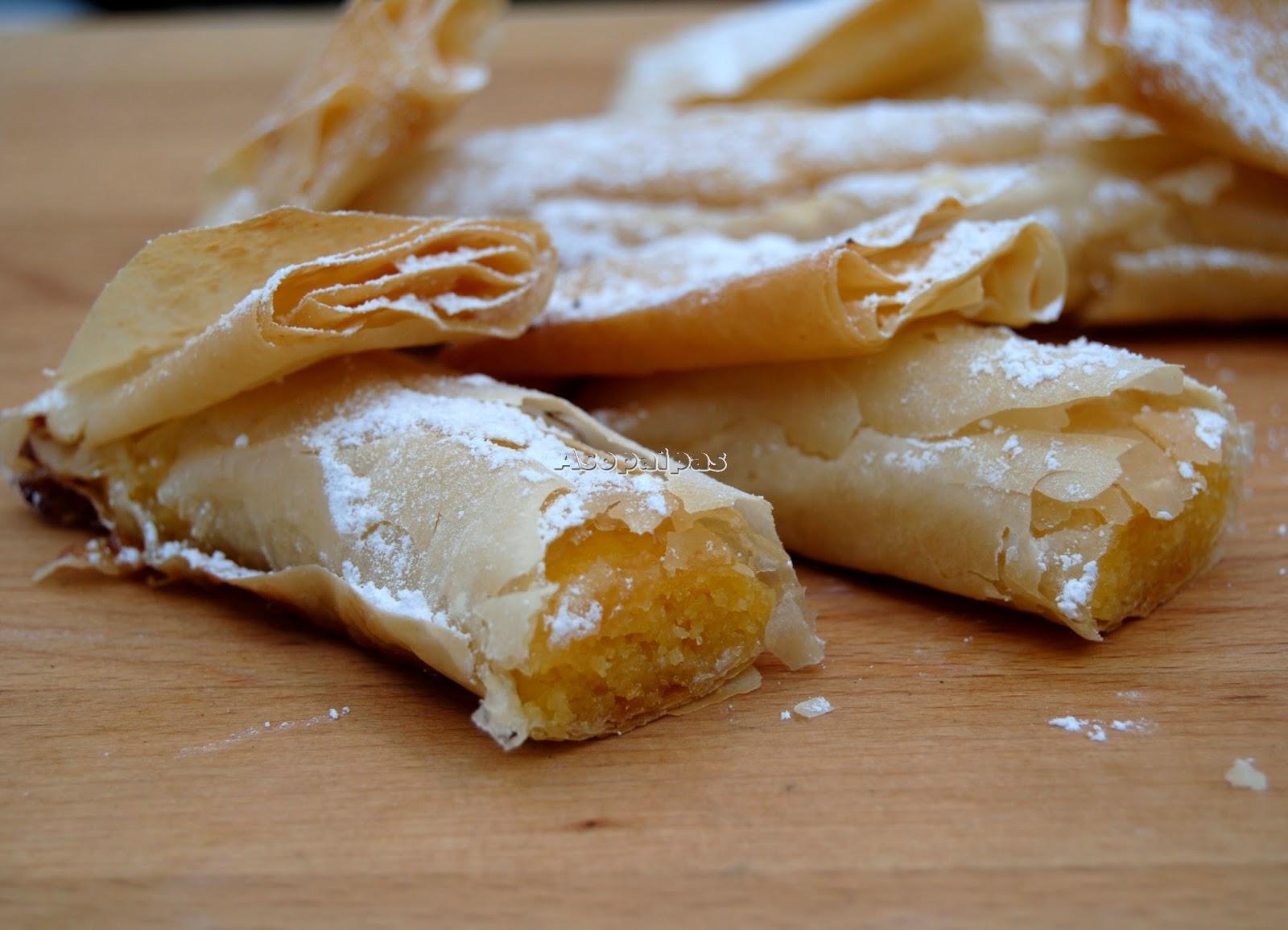 Pasteles de Pasta Filo rellenos de Crema de Yema