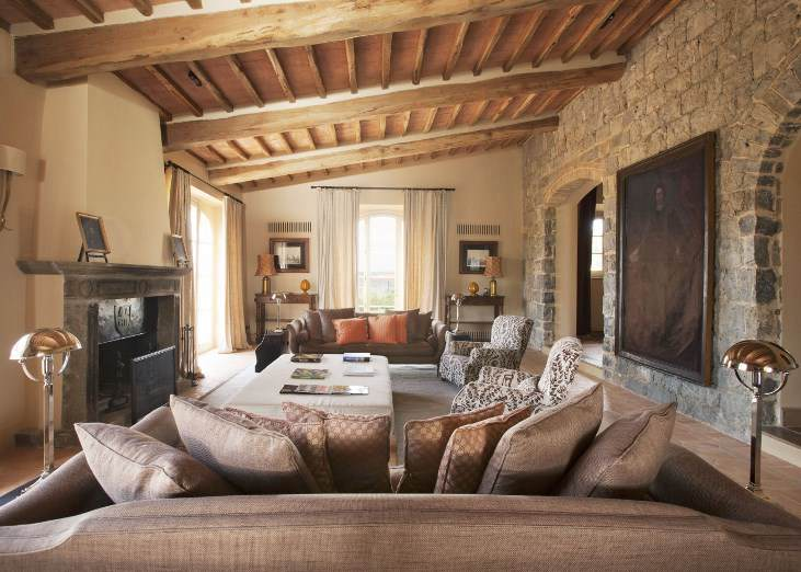 This tuscan style home interior design and decorating for Tuscany living room ideas
