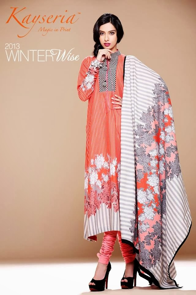 Kayseria Latest Winter Prints Best Shawls Dresses 2014: Kayseria Exclusive Fall-Winter Collection 2013/2014
