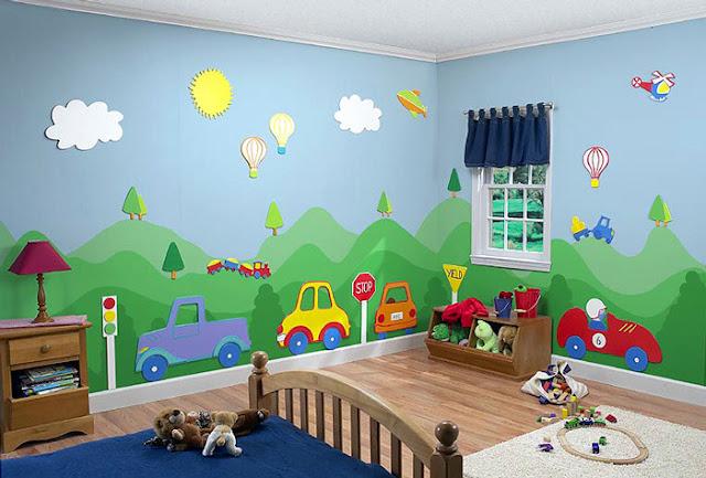 دهانات غرف اطفال باللون الأخضر والسماوي