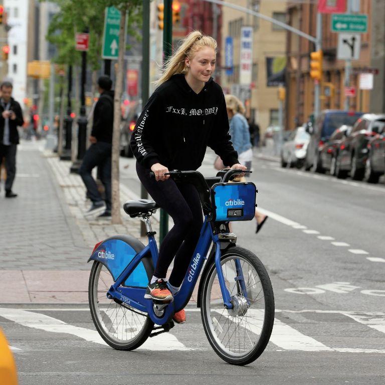 Sophie Turner Riding Citibikes in Soho, New York