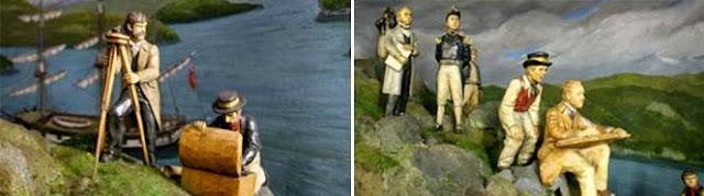 Diorama de Darwin y el capitán Fitz-Roy, en metro Univerisdad de Chile de Santiago de Chile