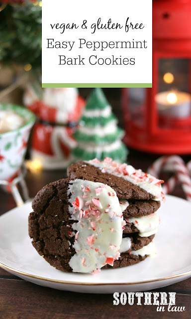 Easy Vegan Peppermint Bark Cookies Recipe - gluten free, vegan, white chocolate, healthy christmas recipes, christmas cookie recipes, gluten free holiday desserts
