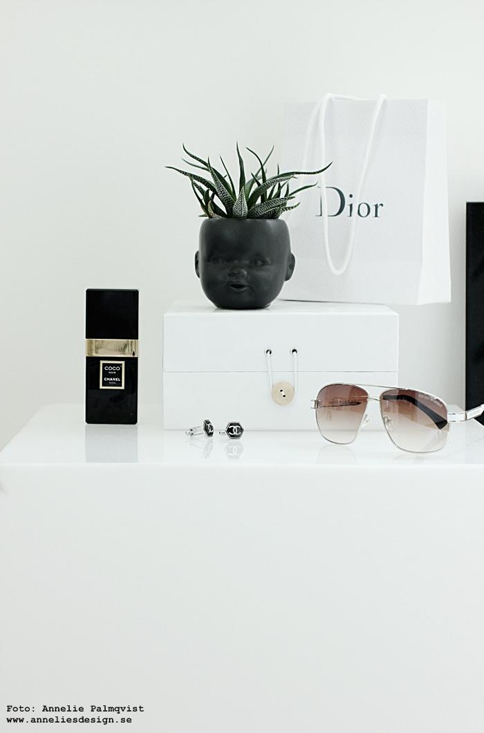 ansikte kruka, krukor, ansikten, svart, svarta, kaktus, kaktusar, walk in closet, webbutik, webbutiker, webshop, inredning, annelies deisgn, solglasögon, chanel, dior, svart och vitt, svartvitt, svartvita, vitt, vit, vita, coco chanel, box, dekoration, låda,