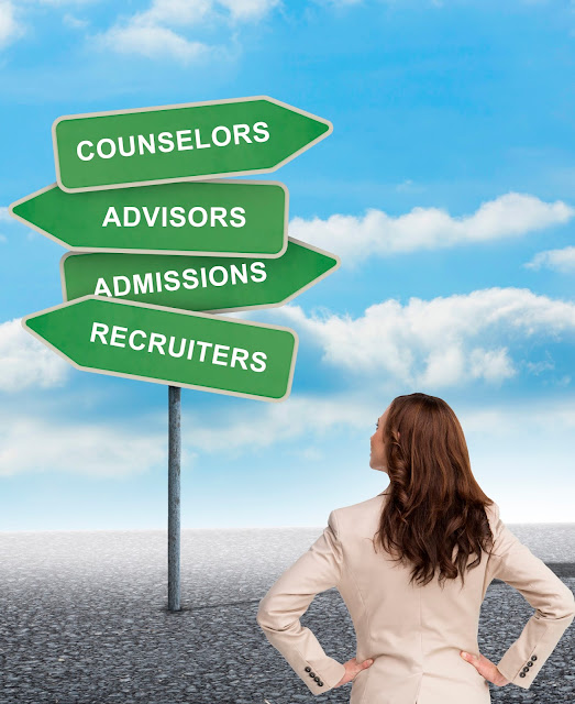 Young woman in a virtual world, looking up at a road sign pointing to: Counselors, Advisors, Admissions and Recruiters.