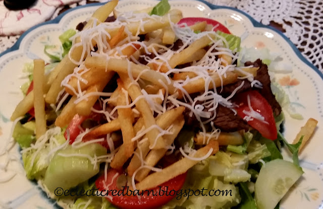 Eclectic Red Barn: Pittsburgh Salad with steak and fries and cheese