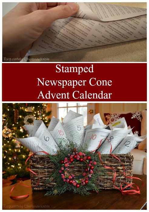 http://www.exquisitelyunremarkable.com/2014/12/newspaper-cone-advent-calendar.html