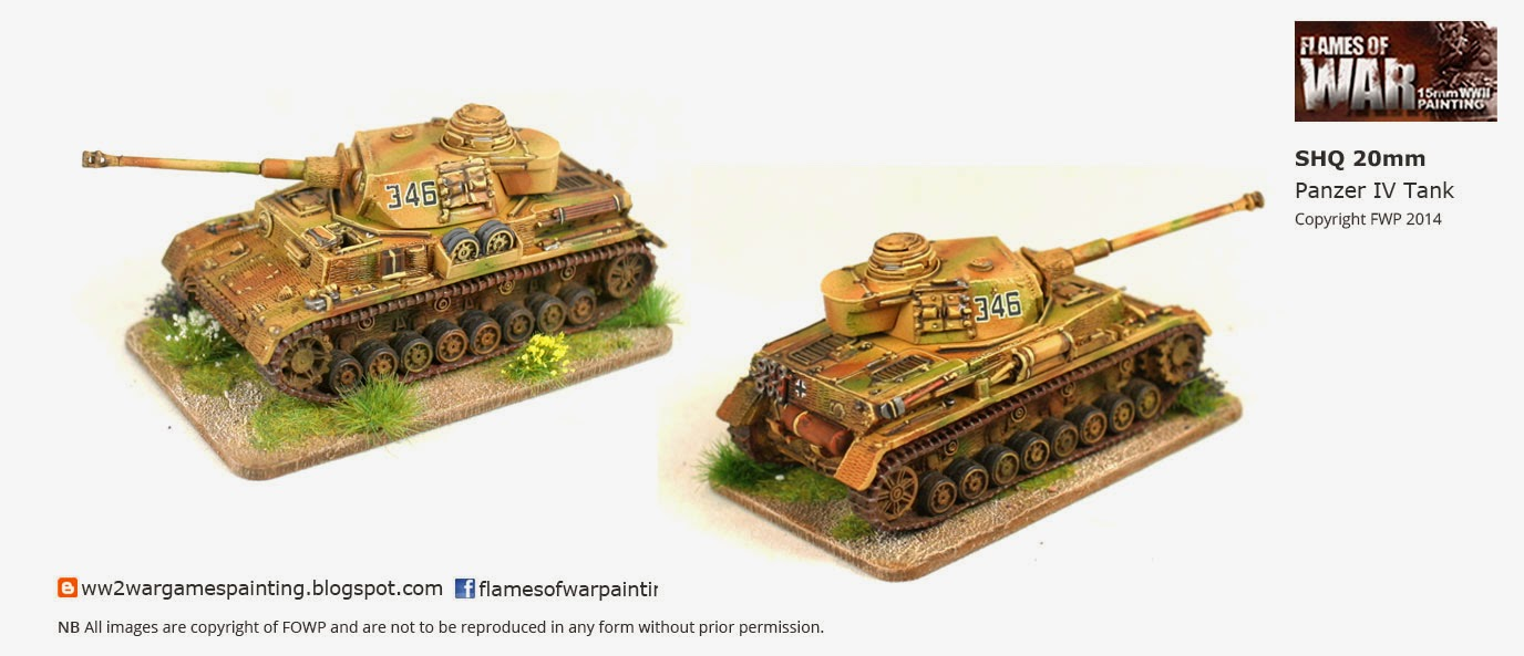 WW2 painted 20mm SHQ German  Panzer IV Tank with camo