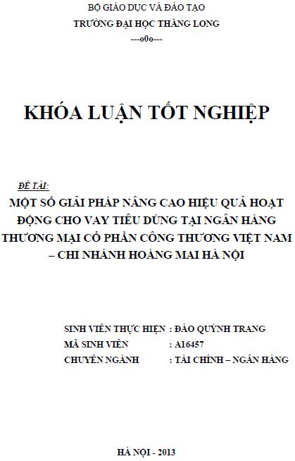 Một số giải pháp nâng cao hiệu quả hoạt động cho vay tiêu dùng tại Ngân hàng thương mại Cổ phần Công thương Việt Nam Chi nhánh Hoàng Mai Hà Nội
