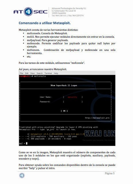 Curso De Metasploit V0 3 At4sec Español Pdf Hacking Land Hack Crack And Pentest