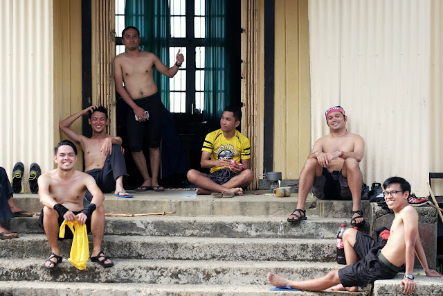 Topless men are the first group to arrive in Old Municipal Hall. Mondi, JP, Jhai, Jayson, Mau and Jess