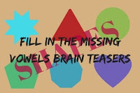 Fill In The Missing Vowels Brain Teasers for Kids with Answers-Shapes