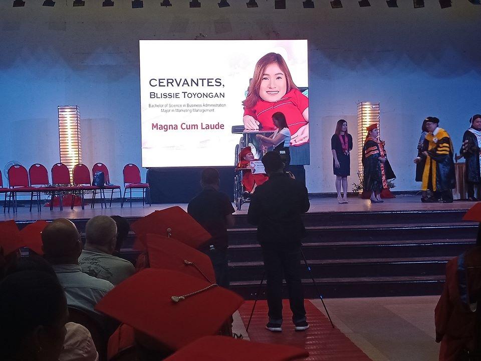 Blissie Cervantes graduated as magna cum laude