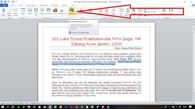Cara Membuat Link / Hyperlink di Microsoft Word Dengan Mudah